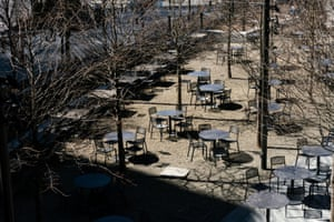 Empty chairs are seen near Hudson yards in the Manhattan borough following the outbreak of coronavirus (COVID-19), in New York City, U.S.