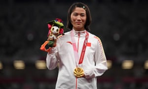 Gold medallist Yiting Shi of China celebrates success in the women's 100m T36 Final