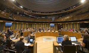 The debating chamber of the Senedd, home of the National Assembly for Wales