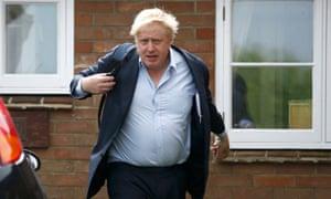 Boris Johnson leaves his home in Oxfordshire