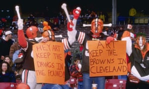 Cleveland Browns fans protest the decision to relocate the team during a 1995 game against the Houston Oilers.