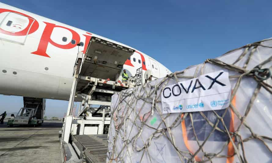 Vaccines unloaded from plane