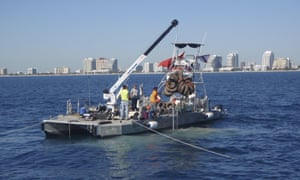 A salvage crew hauls up tires from Osborne Tire Reef off the coast of Fort Lauderdale, Florida, earlier this month.