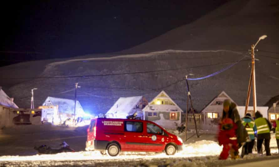 The fracture edge of the avalanche that hit some houses is pictured in Longyearbyen.