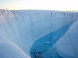 A meltwater canyon on the Greenland ice sheet