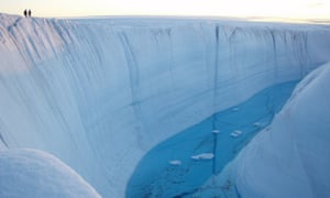 A meltwater canyon on the Greenland ice sheet.