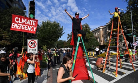 US activists take part in an environmental protest