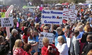Teachers, students and supporters fill the south plaza of         the state capitol as protests continue over school funding, in         Oklahoma City.