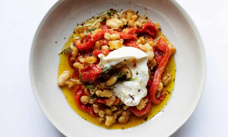 Bean there, done that: peppers, cannellini and burrata.
