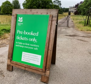 A sign warning visitors that entry to Kingston Lacy must be pre-booked.