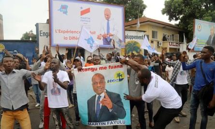 Supporters of Martin Fayulu celebrate in Kinshasa, DRC