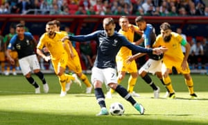 France's Antoine Griezmann slots in the penalty.