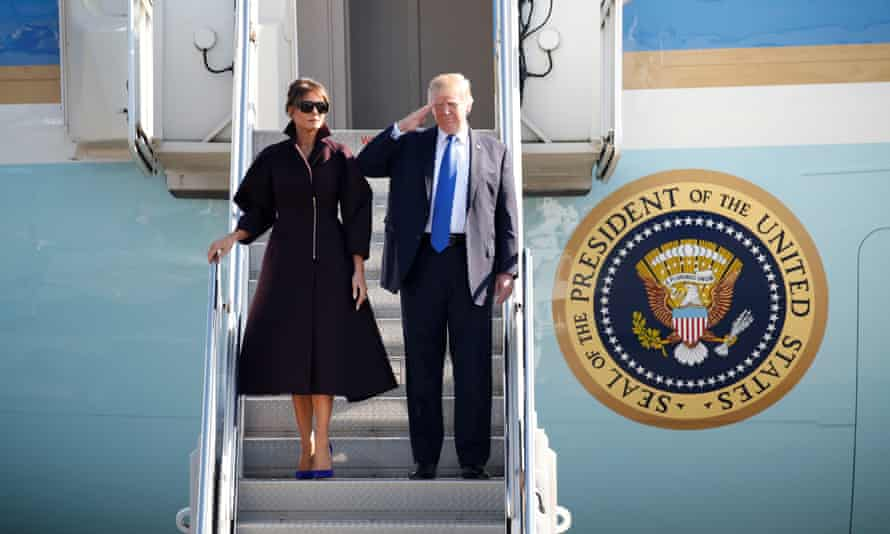 Donald and Melania Trump depart for Seoul. The US president is currently touring Asia.