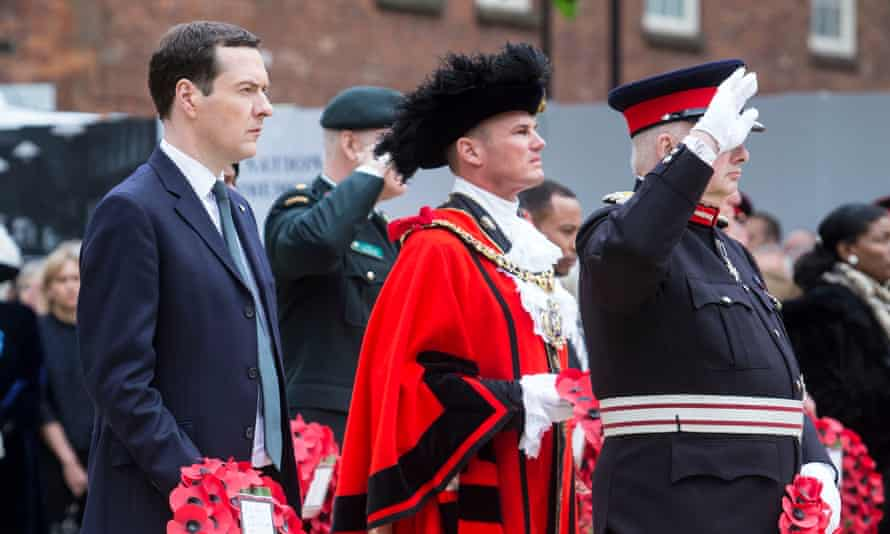 George Osborne prepares to lay a wreath at the Cenotaph in St Peter's Square, Manchester
