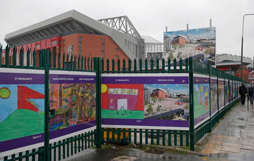 Boards outside Liverpool's famous old home offer a vision of the future regeneration plans for the Anfield area.
