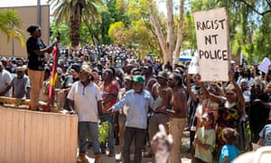 Thousand of people walked through Alice Springs to the police station and courthouse in memory of Kumnjajyi Walker.