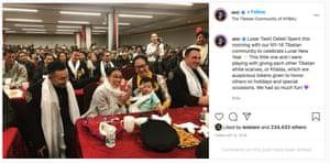Baimadajie Angwang appears alongside Alexandria Ocasio-Cortez at a Tibetan New Year celebration.