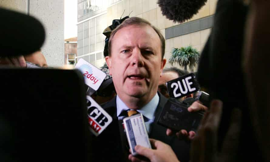 Peter Costello answers a question from the media in 2006