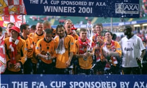 Liverpool celebrate their FA Cup win which also made up part of their 2001 treble.