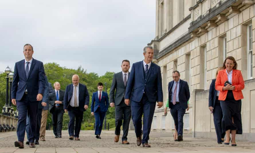 The DUP leader, Edwin Poots (centre), with deputy leader Paula Bradley (right) and first minister-designate Paul Givan (left) at Stormont