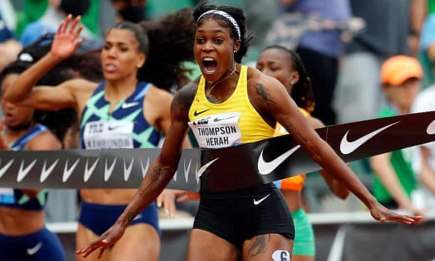Elaine Thompson-Herah celebrates as she wins the 100m at Eugene a fortnight ago, recording the second-fastest 100m time in history.