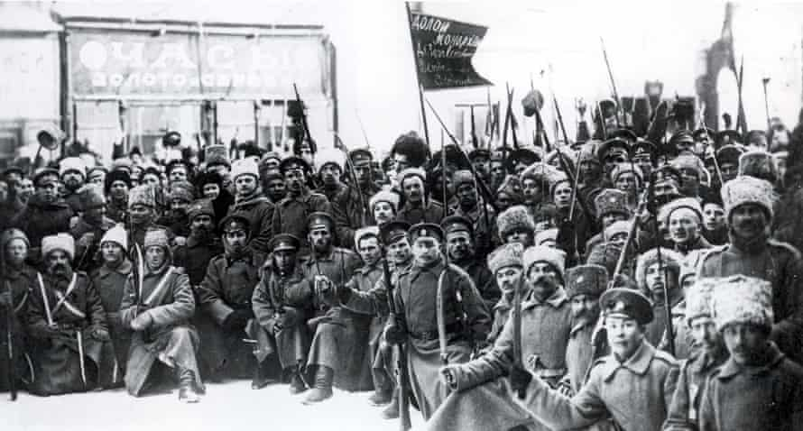 Fateful days … Bolshevist soldiers take to the streets of Petrograd (St Petersburg) in 1917.