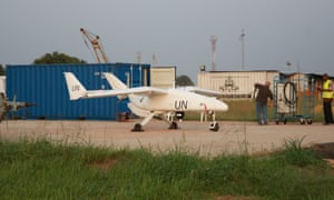 A drone at Bunia airport, Democratic Republic of Congo