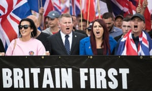 Paul Golding and Jayda Fransen lead a Britain First demonstration in Rochdale.