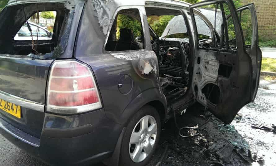 An image of a fire-damaged Vauxhall Zafira B posted on the Facebook campaign page.