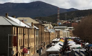 Shoppers explore the historic Salamanca Markets where a huge range of food, clothes and local crafts are on offer in Hobart.