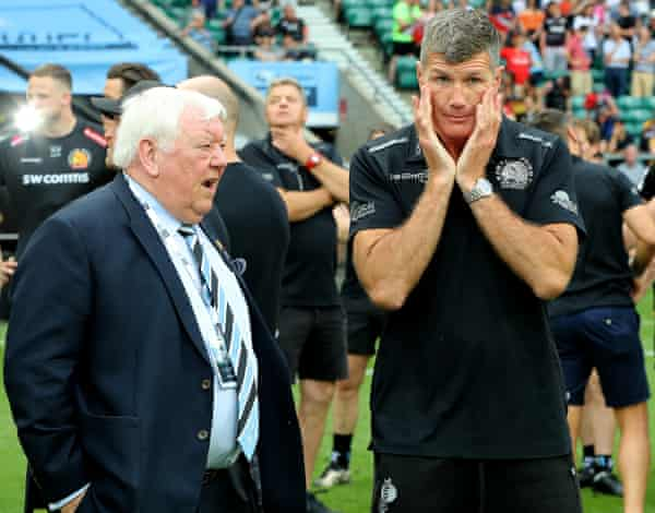 Rob Baxter (right), the Exeter director of rugby, and the owner, Tony Rowe, look dejected after their defeat to Saracens in the 2019 Premiership final.