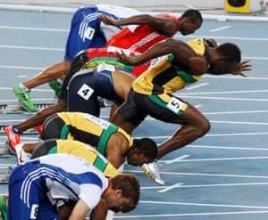 Usain Bolt's false start in the 100m final at the 2011 world championship.