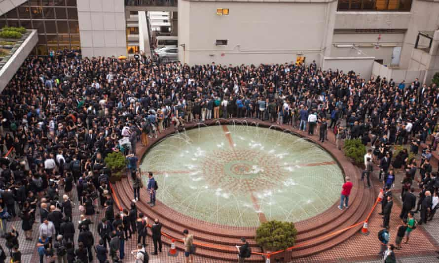 Lawyers and law students gather outside Hong Kong's high court.
