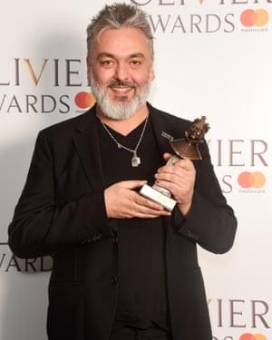 Jez Butterworth holding his award