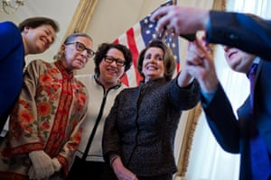House minority leader Nancy Pelosi with supreme court justices Elena Kagan, Ruth Bader Ginsburg and Sonia Sotomayor on 18 March 2015.