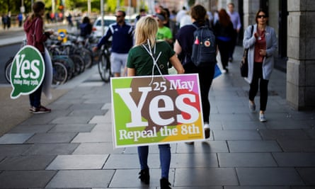 Yes campaigners in Dublin.