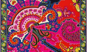 Design squares showing some of the 'Paisley from Paisley' products created by Hermès designers using original 19th-century patterns