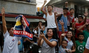 Supporters of Rodrigo Duterte during his successful Philippine presidential election campaign in April 2016