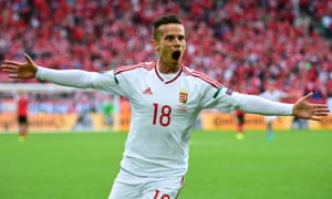 Zoltan Stieber celebrates after scoring the second goal for Hungary.