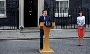 Cameron, with his wife Samantha, delivers his resignation speech outside No 10.