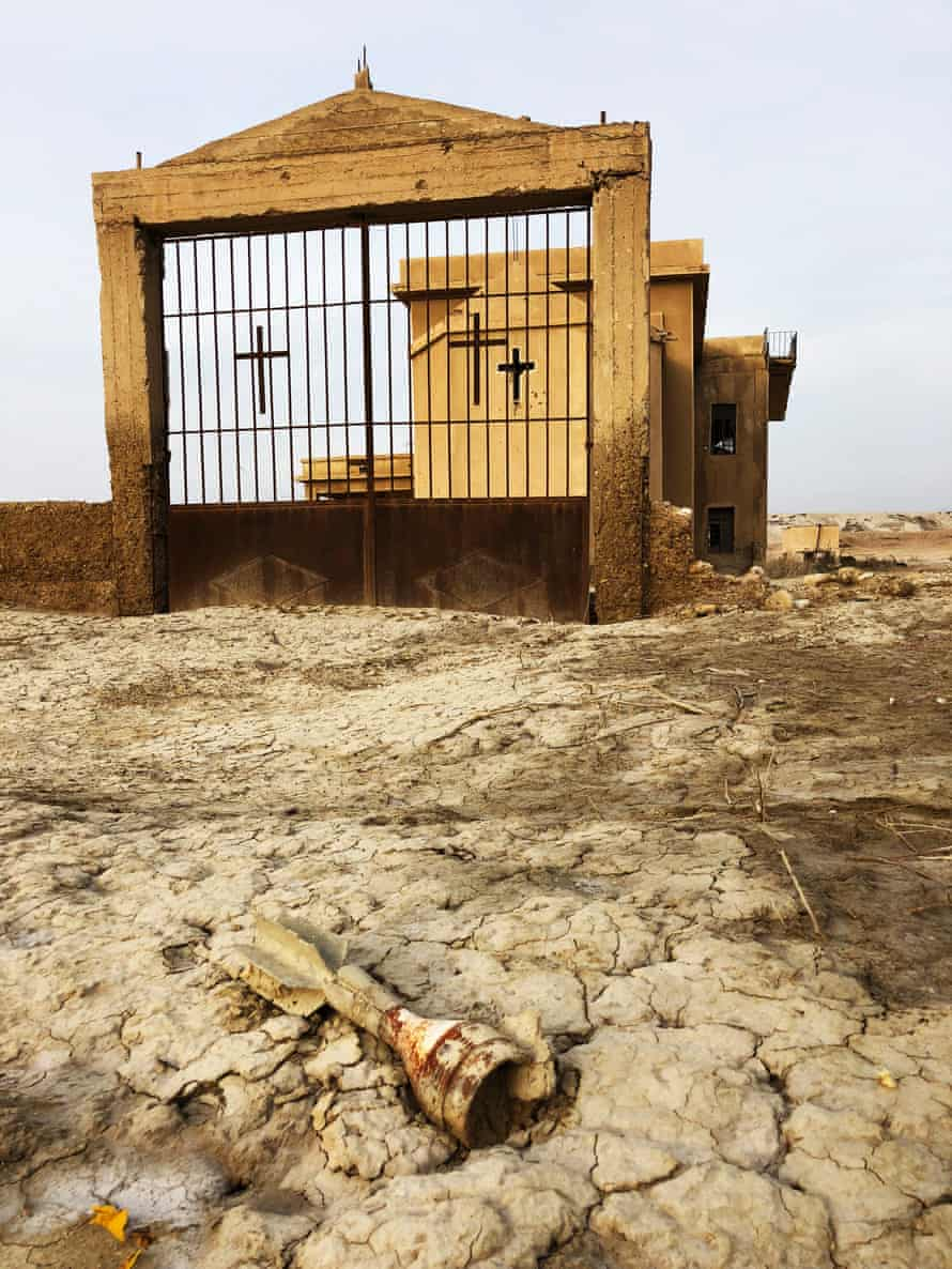 The tail of a mortar shell in front of the abandoned Syriac church at Qasr al-Yahud in the West Bank.