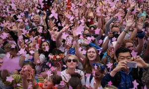 Glastonbury Festival at Worthy Farm. The crowd react as they are showered with star-shaped confetti during US singer Katy Perry's performance at the Glastonbury Festival of Contemporary Performing Arts 2017 at Worthy Farm, near Pilton, Somerset, Britain, 24 June 2017.