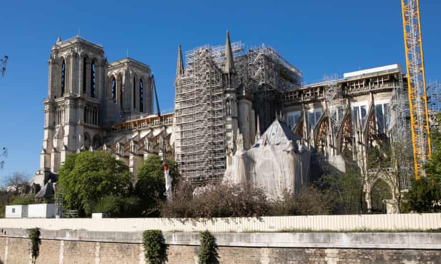Notre Dame under restoration a year after the fire.
