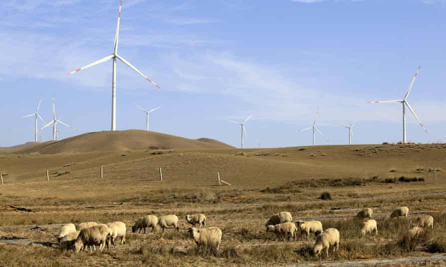 Wind turbines in Gansu, Wuwei, China
