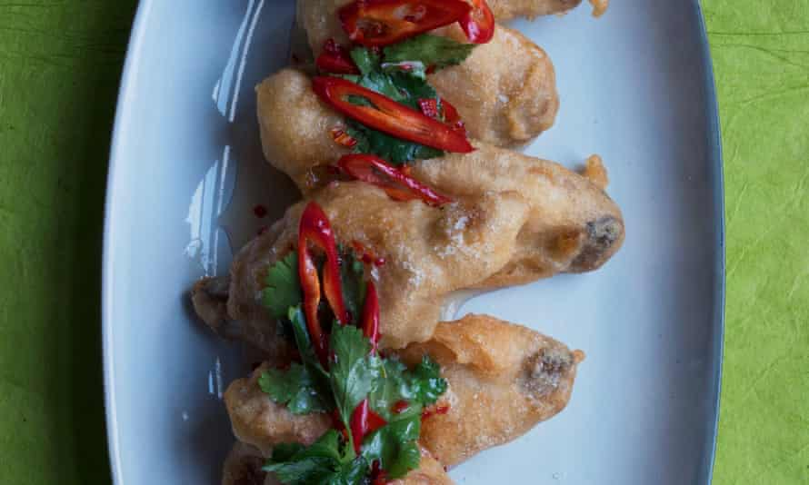 'A bracing little recipe': fried chicken wings with chilli dip.