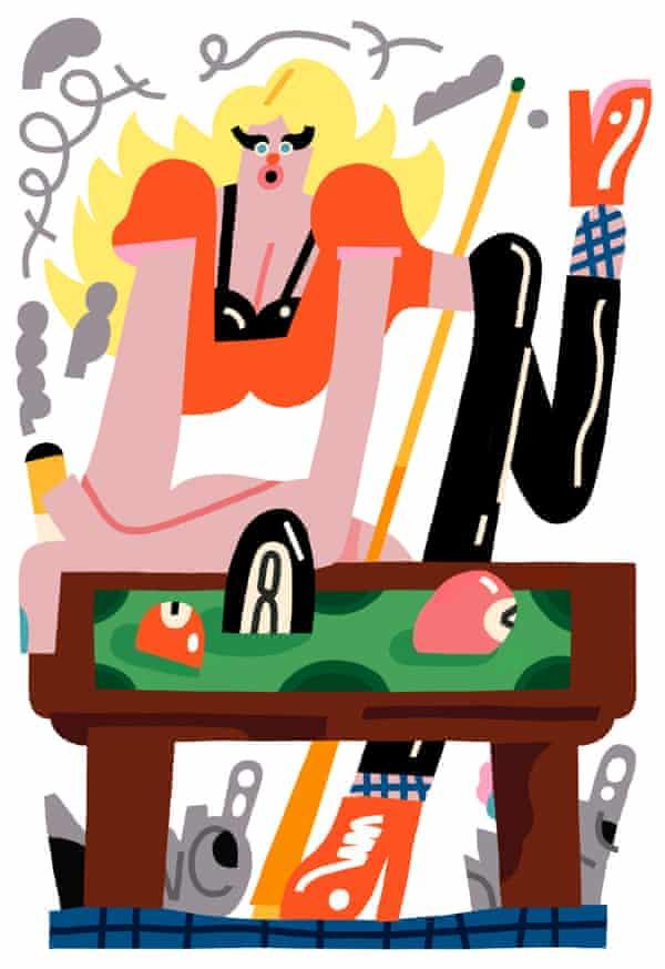illustration woman at pool table