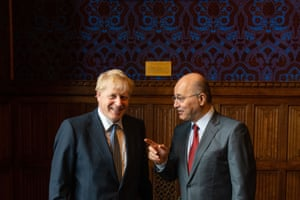 London, UK. Conservative party leadership contender Boris Johnson meets Barham Salih, President of Iraq at the Houses of Parliament in Westminster