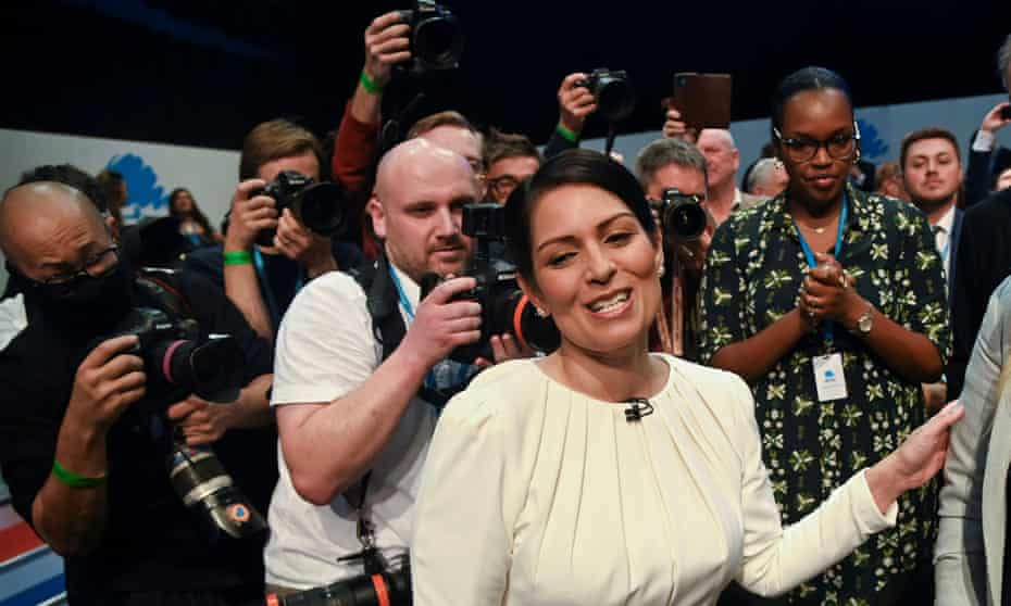 Priti Patel after her conference speech in Blackpool.