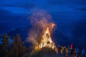 A traditional high-altitude bonfire to celebrate Switzerland's national day burns on Stanserhorn mountain in Stans, Switzerland