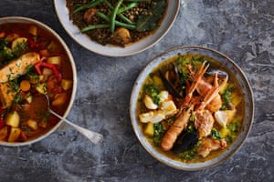 Nieves Barragán Mohacho's Spanish-style stews: fish stew, chicken with roast pepper, green bean and lentil.
